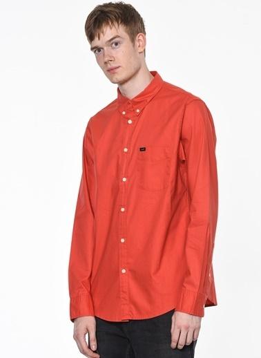 Lee Uzun Kollu Slim Fit Gömlek Kırmızı